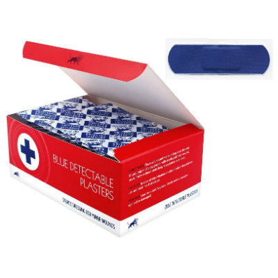 Blue Detectable Plasters - 6.3cm x 1.9cm (100)