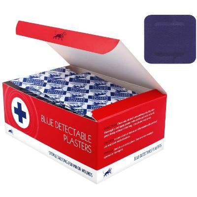 Blue Detectable Plasters - 3.8cm x 3.8cm (100)