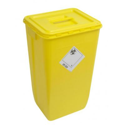 Sharps Disposal Bin with Solid Yellow Lid - 60 Litre