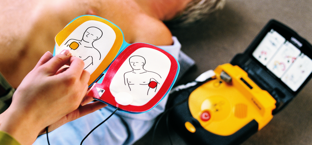 defibrillator in use