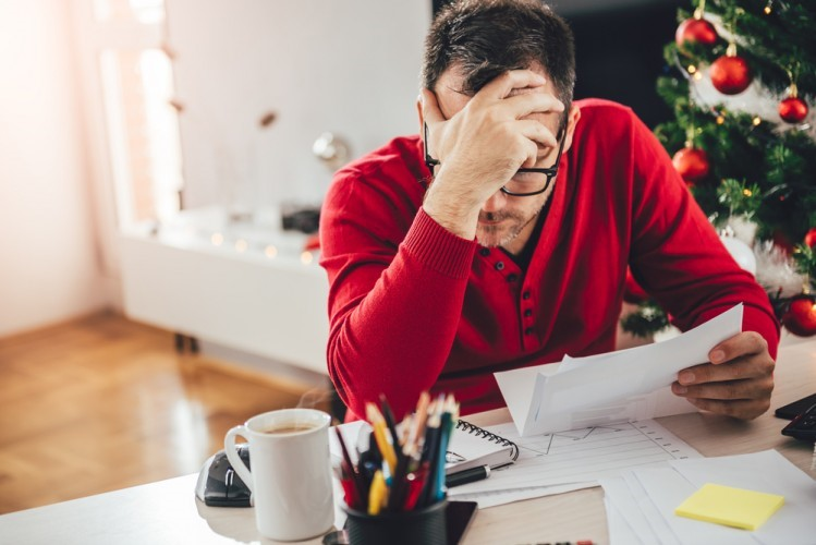 stressed worker at christmas